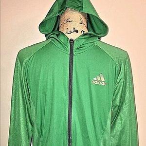Adidas track jacket hoodie men's green medium